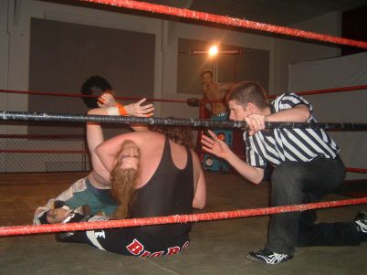 Pierre Abernathy works on a submission move on arch enemy Gary the Barn Owl.