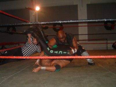 Shorty Biggs works for a pin in the match but was unable to get the Victory in the end.