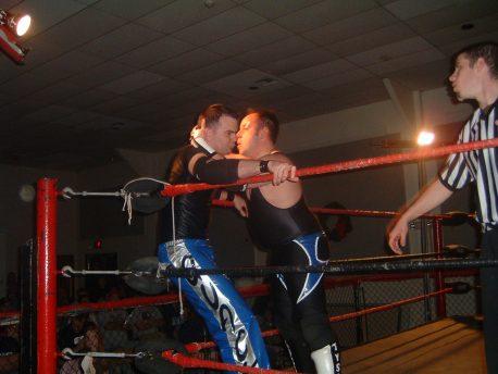 Nick Tyson takes it to Mike Quackenbush in the corner.