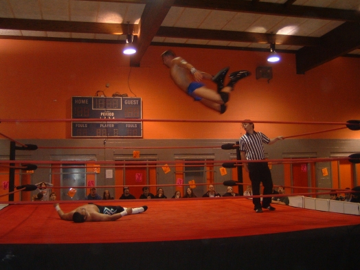 Shane Rich showed on this night that he is one of the most complete wrestlers in the Midwest, here he works the air attack.