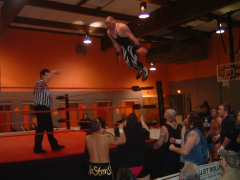 Young gun Tony Stetson goes all out in when he went high in the air in  a Lumberjack match against Chocolate Thunder.
