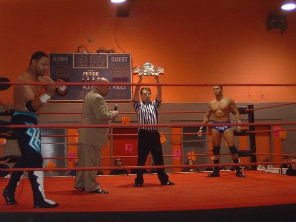 """For the All American Pro Wrestling Championship- """"Serial Thriller"""" Shane Rich vs. Edmund """"Livewire"""" McGuire."""