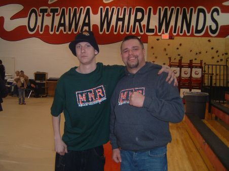 "NWA Dynamo Pro Wrestling fan, Marvin Messerschmidt and Brian ""Flair"" Kelley"
