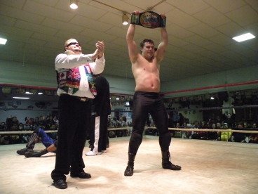 In a match of the year canadaite, Dave Vaughn is the new Champ and his Manager Travis Cook could not be any happier- Photo Credit – Dubray Tallman