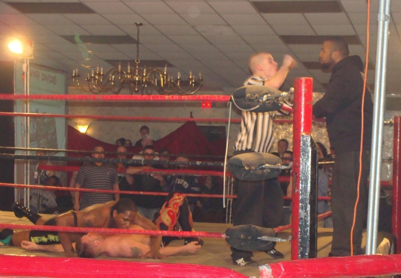 The Future was 3 seconds away from the LWA Championship but Dorian Victor distracts the ref- Photo Credit Kari Williams
