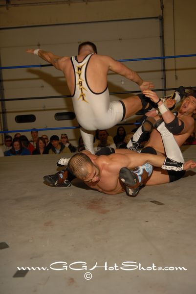 Hype Gotti had Sonjay Dutt where he wanted him until Jeremy Wyatt made his presence known. (Photo Credit Gary Giaffoglione)