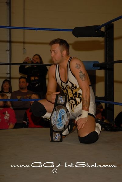 Pro Wrestling Phoenix Champion Jeremy Wyatt is calm and ready for a three way dance with Sonjay Dutt and his friend Hype Gotti - (Photo Credit: Gary Giaffoglione)