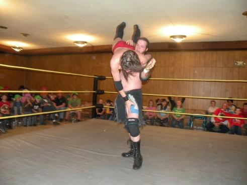 """Dewey """"Booger"""" Dawson  delivers a body slam (Photo Credit Brian Kelley)"""
