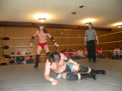 Knight Wagner stalks Dawson for the MECW Title.(Photo Credit Brian Kelley)