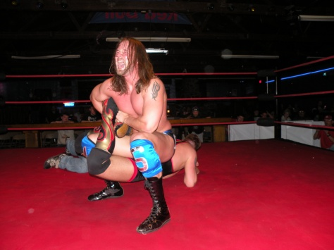 Sterling had Wyatt in a sharpshooter that Wyatt barley got out of.