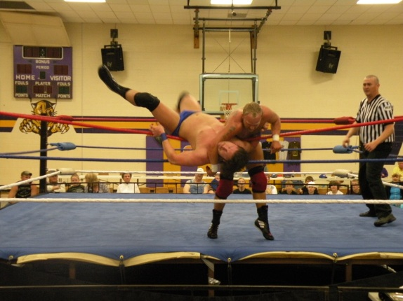 "Darin Waid shows Brian Breaker that he has some power in his arsenal (Photo Credit Brian ""Flair"" Kelley)"