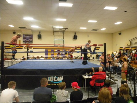 "Breaker and Nguyen retreat outside the ring.(Photo Credit: Brian ""Flair"" Kelley)"