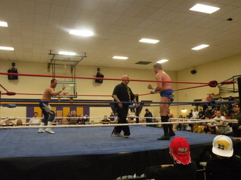 "The mouse is trapped in the ring with Steve Fender and Trevor Murdoch. (Photo Credit: Brian ""Flair"" Kelley)"