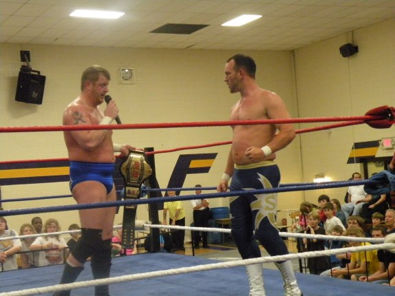 "Trevor Murdoch lets Steve Fender know that he respects the WLW title but he feels as if Fender is a worthy Champion. (Photo Credit: Brian ""Flair"" Kelley)"