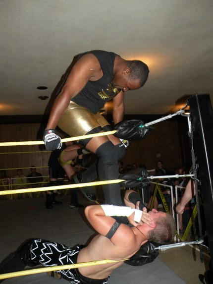 "Eric Allen punishes Evan Money in the corner (Photo Credit Brian ""Flair"" Kelley)"
