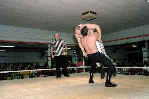 You can tell on Blades face that he was in trouble after a powerful belly to belly suplex. (Photo credit: Mike Van Hoogstraat)