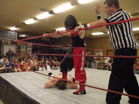 "Davey Vega gets a leg on fellow young gun Adam Rich.(Photo credit Brian ""Flair"" Kelley)"
