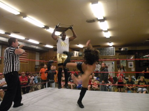 "Brandon Aarons makes Eric Allen pay with a super kick on his way to becoming the first ever IHW STL Invitational Champion (Photo credit Brian ""Flair"" Kelley)"