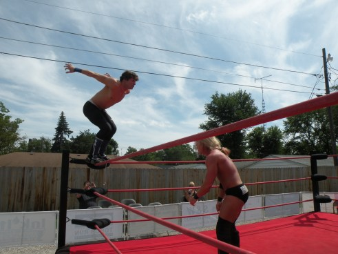 "Mike Sydal shows the talented Nick Brubaker that he can hit him from everywhere. (Photo Credit Brian ""Flair"" Kelley)"