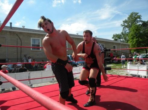 "A powerfull blow by Wyatt sends Hollister reeling. (Photo Cretit Brian ""Flair"" Kelley)"