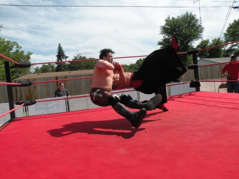 "Bombs away …Dirge retains the title. (Photo Credit Brian ""Flair"" Kelley)"
