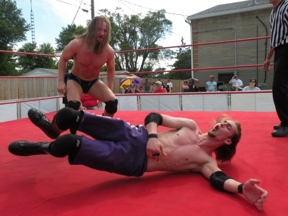 "Sterling delivers the pain to Krotch. (Photo Credit Brian ""Flair"" Kelley)"