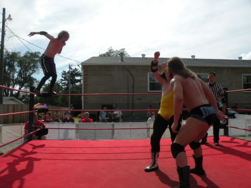 """Krotch goes for a high risk maneuver on Mathews and Sterling. (Photo Credit Brian """"Flair"""" Kelley)"""