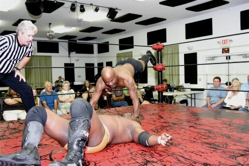 Shaft hits Gary Jackson with a head butt. (Photo Credit Michael R Van Hoogstraat)