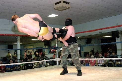 Waco goes flying after a drop kick by Vaughn. (Photo Credit Michael R Van Hoogstraat)