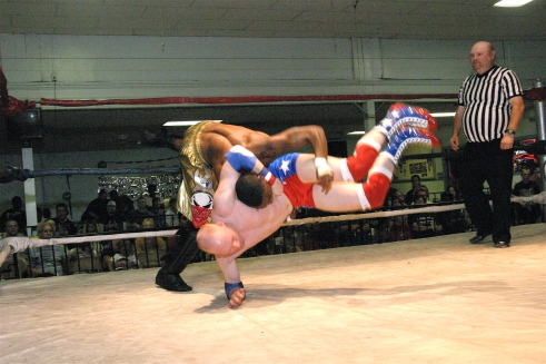 Johnny Courageous  challenges MMWA-SICW Jr. Heavyweight Champ AJ Williams (Photo by Michael R Van Hoogstraat)