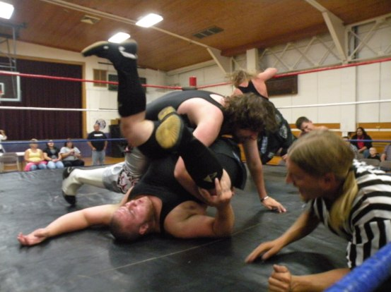"""At GAW the feud continued but the LWA Championship was not on the line. Pierre would get the pinfall for bragging rights in this highly contested feud. (Photo Credit Brian """"Flair"""" Kelley)"""