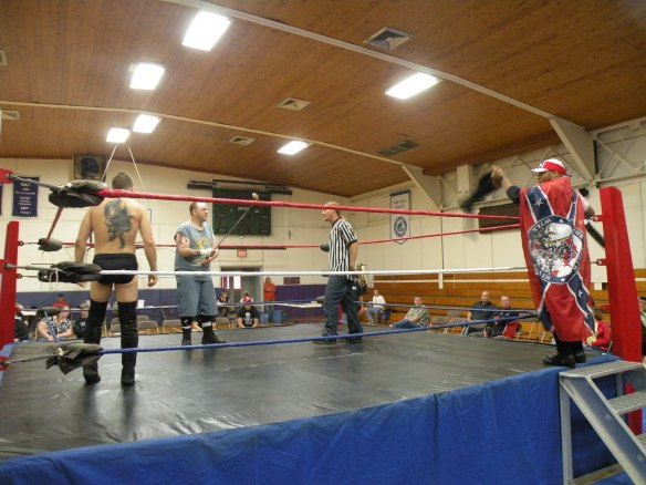 "The GAW Champ Matt Cage comes to ring to take on Dingo and Ian Rotten.(Photo Credit Brian ""Flair"" Kelley)"