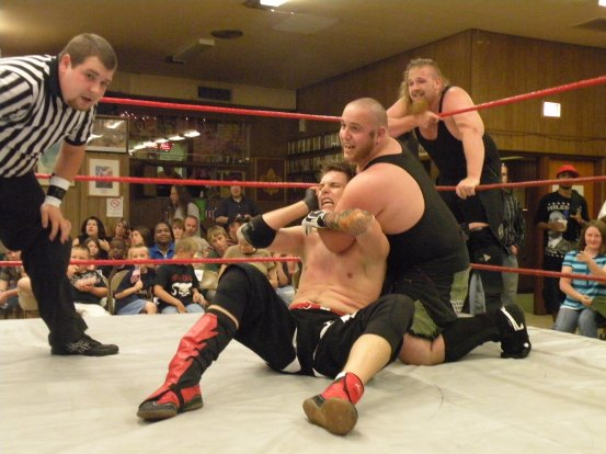 "The Hooligans have Evan Gelistico where they want him. (Photo Credit Brian ""Flair"" Kelley)"