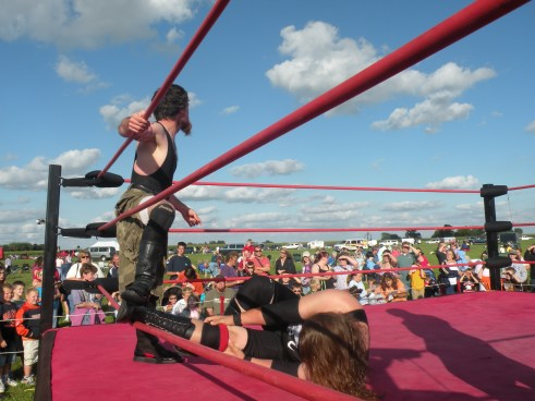 "Always unorthodox, Neil brings Mephisto down to his size by taking out his legs. (Photo Credit Brian ""Flair"" Kelley)"