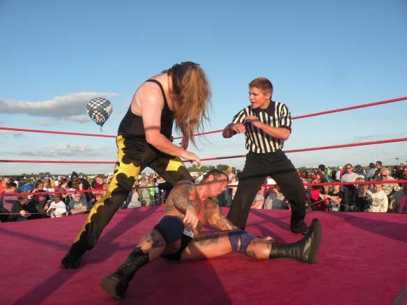 "Fan Favorite Curly withstood the power Cabal in this encounter. (Photo Credit Brian ""Flair"" Kelley)"