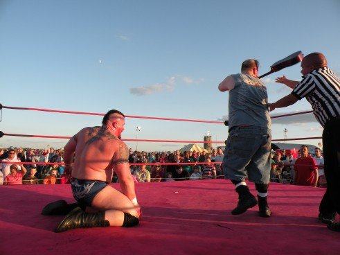 "Ian Rotten attempts to get revenge but the ref recovered to catch him in the act therefore giving the victory to Walker. (Photo Credit Brian ""Flair"" Kelley)"