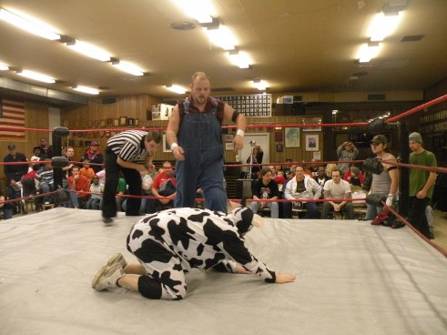 "Farmer Billy Hills felt strong early in the match against one of his farm animals ?(Photo Credit Brian ""Flair"" Kelley)"