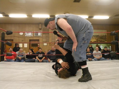 "Ian Rotten warns Mephisto that he is looking to take away his career during the latter nights Barb Wire match (Photo Credit Brian ""Flair"" Kelley)"