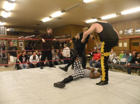 "MR Late Nite leads his men Cabal and Graves in to attack Shawn Almighty(Photo Credit Brian ""Flair"" Kelley)"