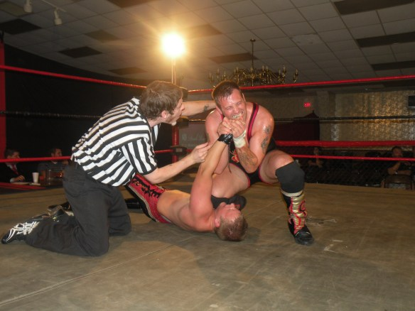 "Kc Karringotn proved that he was for real when he defeated Wyatt in a rematch for the LWA title on July 25 in House Springs. . Karrington had to display a lot of heart and guts as the Rebel was even more nastier than ever. (Photo Credit Brian ""Flair"" Kelley)"