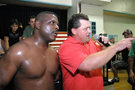 """keith smith and gary jackson teamed up earlier this year to battle the connection in preparation for the south broadway athletic club's hall of fame induction, which will include wrestlers from sbac's rich past""""  (Photo Credit Mike Van Hoogstraat)"""