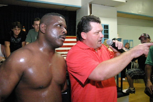 "keith smith and gary jackson teamed up earlier this year to battle the connection in preparation for the south broadway athletic club's hall of fame induction, which will include wrestlers from sbac's rich past""  (Photo Credit Mike Van Hoogstraat)"