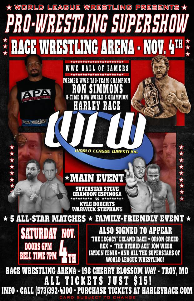 5aa7dbdab Ron Simmons comes to the Race Wrestling Arena! Tickets Only $15.00