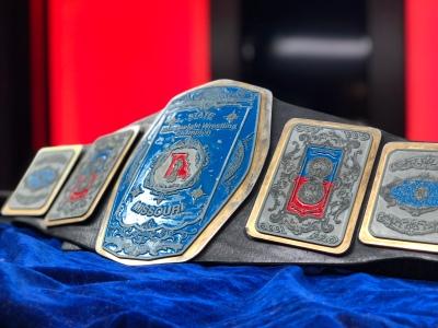 Missouri title belt in Studio B